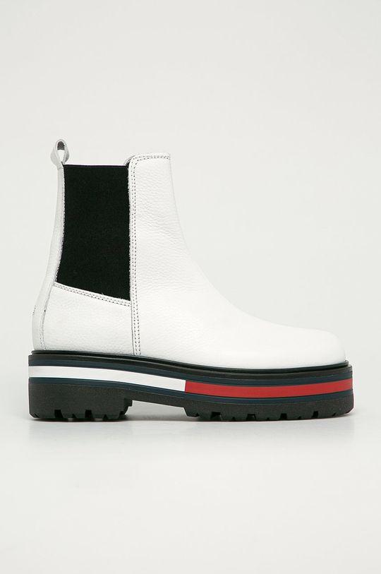 biały Tommy Jeans - Sztyblety skórzane Damski