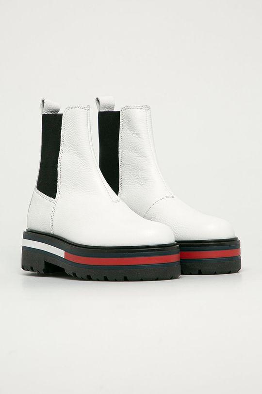 Tommy Jeans - Sztyblety skórzane biały