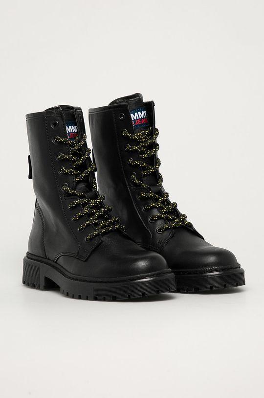 Tommy Jeans - Workery skórzane czarny