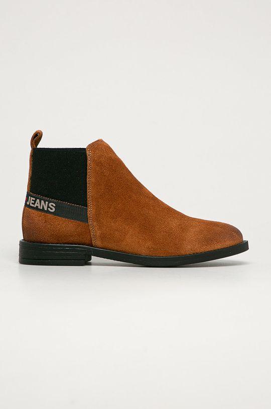 hnedá Tommy Jeans - Semišové topánky Chelsea Dámsky