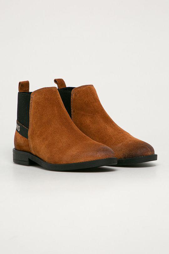 Tommy Jeans - Semišové topánky Chelsea hnedá
