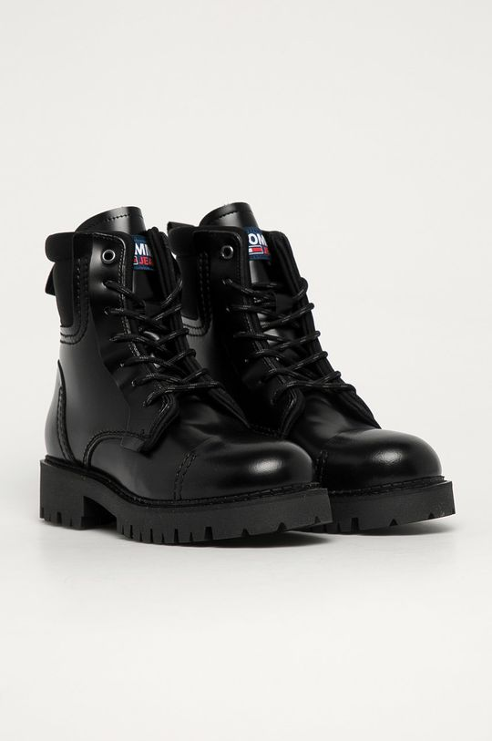Tommy Jeans - Kožené workery čierna