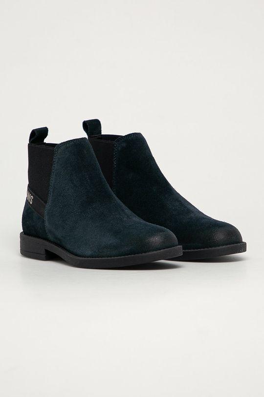 Tommy Jeans - Semišové topánky tmavomodrá