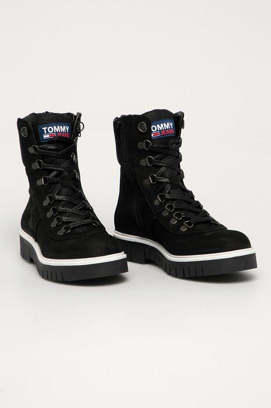 Tommy Jeans - Nízké kozačky černá