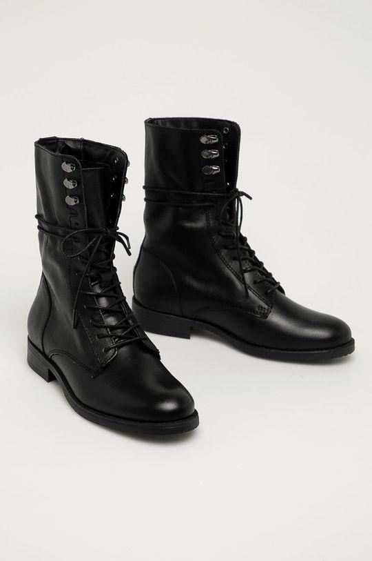 Tommy Jeans - Кожени боти черен