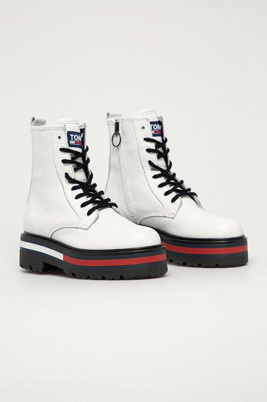Tommy Jeans - Kožené workery biela