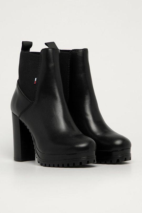 Tommy Jeans - Cizme de piele negru