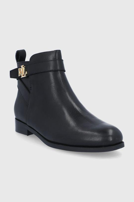 Lauren Ralph Lauren - Kožené kotníkové boty černá