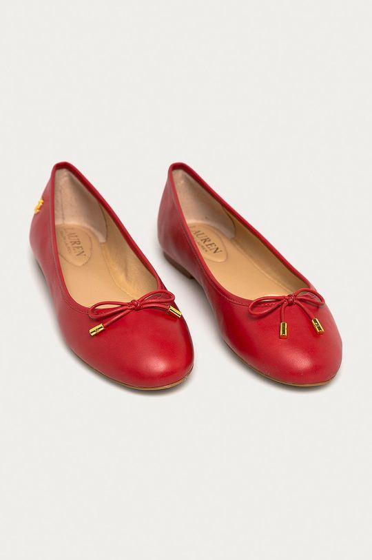 Lauren Ralph Lauren - Baleriny skórzane czerwony
