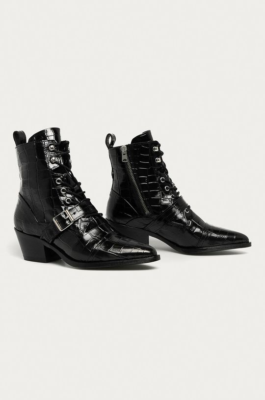 AllSaints - Kožené kotníkové boty Katy Croco černá