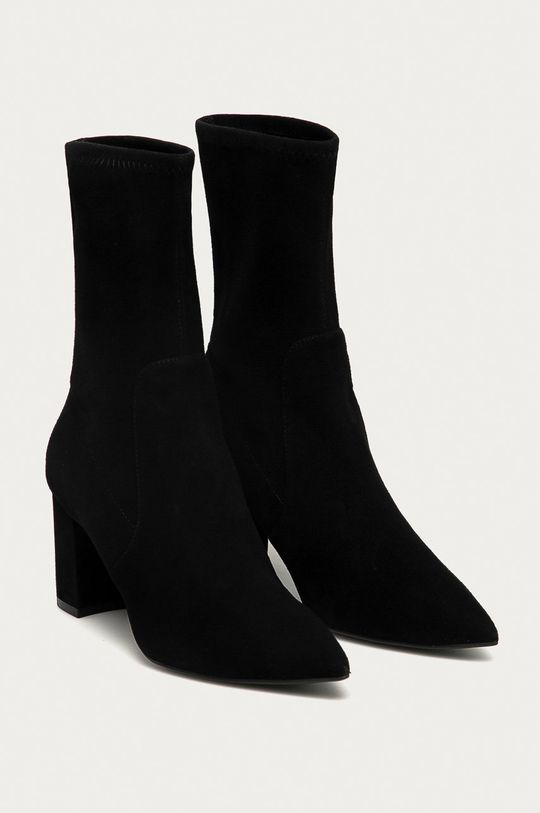 Stuart Weitzman - Kožené členkové topánky Landry 75 čierna