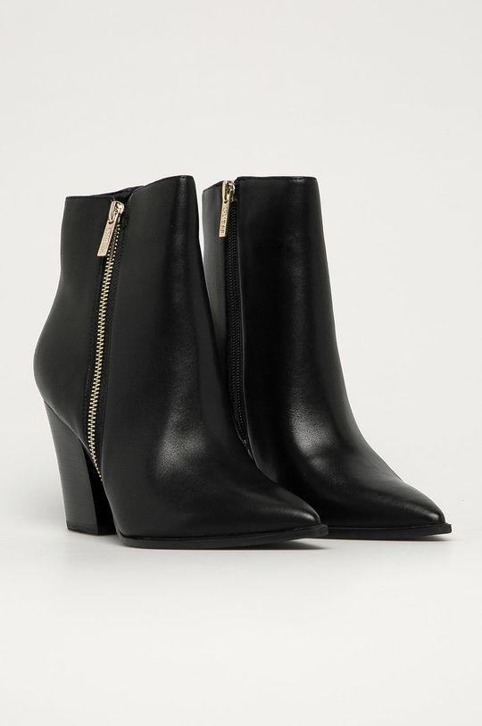 Guess Jeans - Kožené členkové topánky čierna