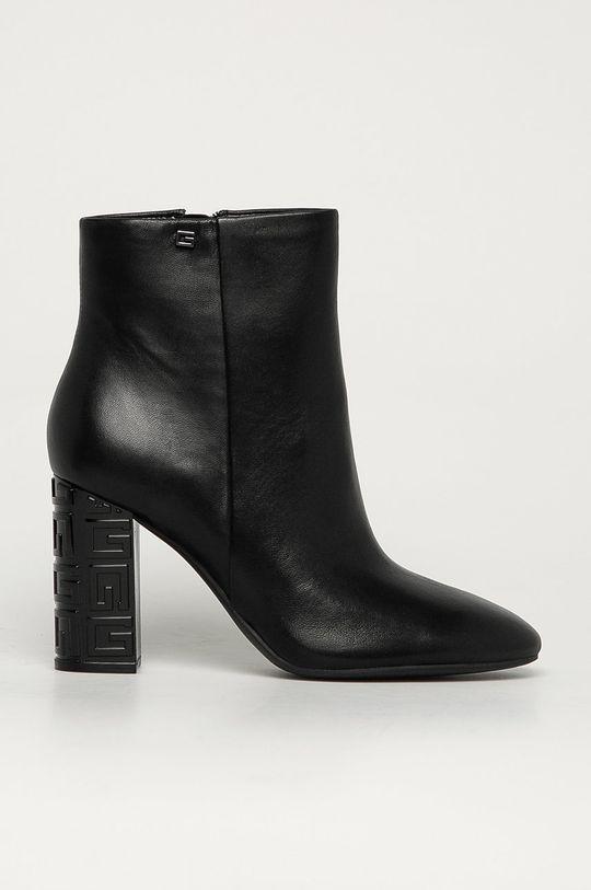 čierna Guess Jeans - Kožené členkové topánky Dámsky