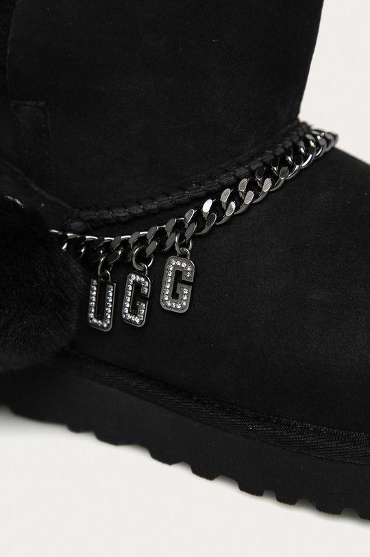 negru UGG - Cizme de zapada din piele intoarsa Classic Charm Mini