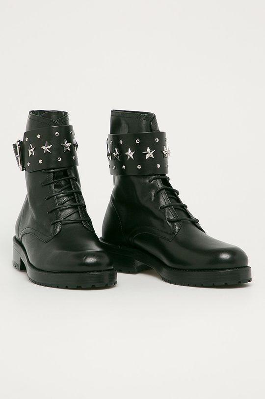 Red Valentino - Kožené kotníkové boty černá