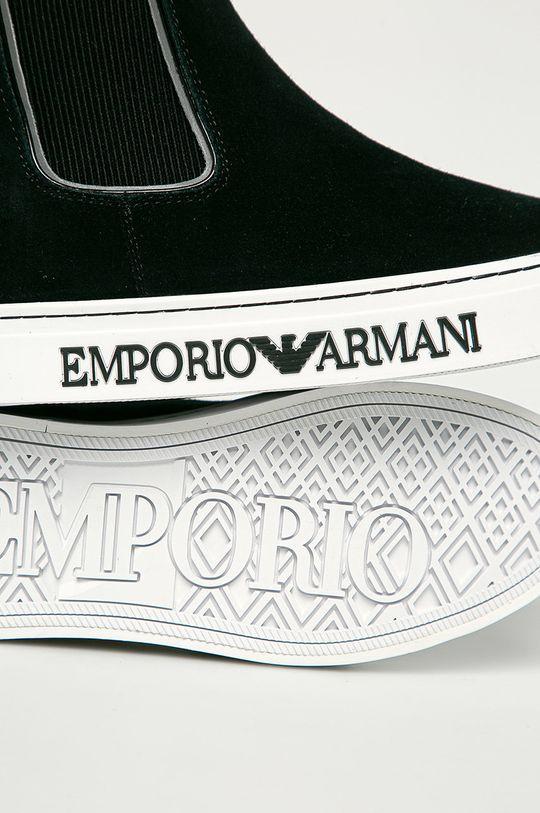 negru Emporio Armani - Botine din piele intoarsa