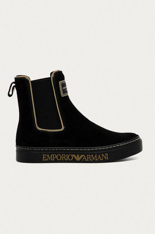 černá Emporio Armani - Semišové kotníkové boty Dámský