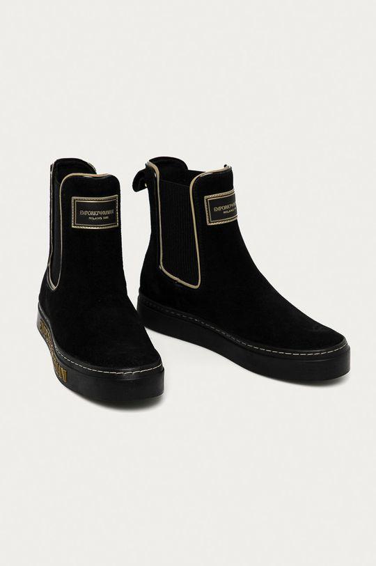 Emporio Armani - Semišové kotníkové boty černá