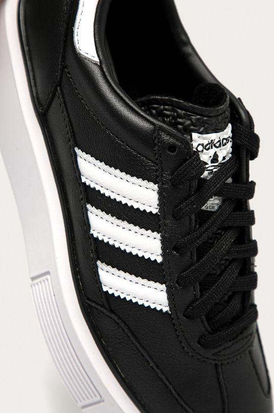 černá adidas Originals - Kožené boty Sleek Super