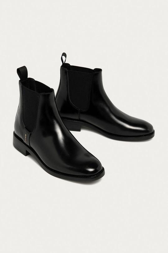 Gant - Kožené topánky Chelsea Fayy čierna