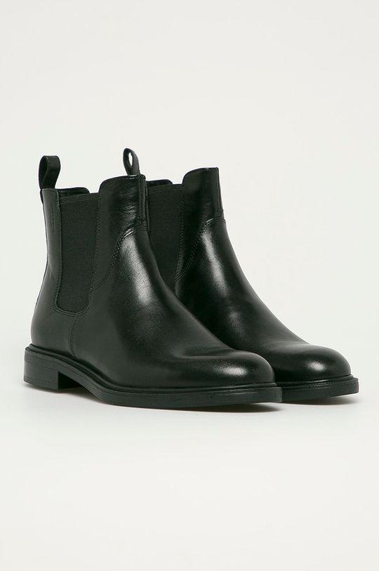 Vagabond - Kožené kotníkové boty Amina černá