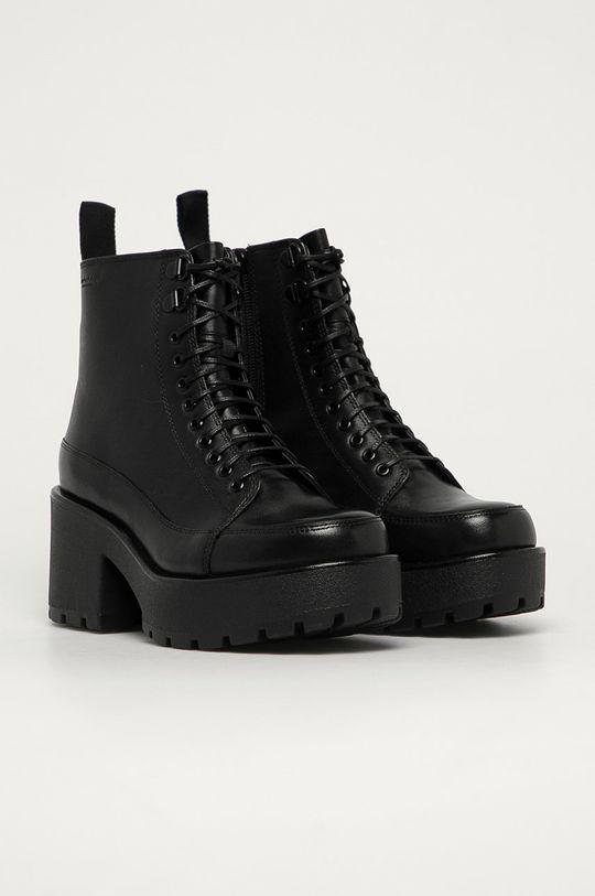 Vagabond - Kožené členkové topánky Dioon čierna