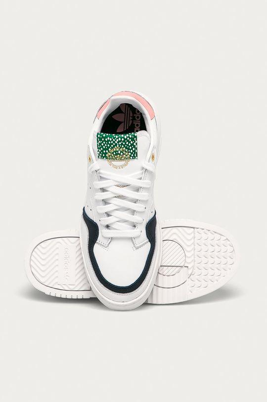 bílá adidas Originals - Kožené boty Supercourt