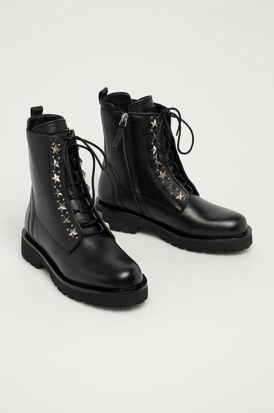 Twinset - Kožené členkové topánky čierna