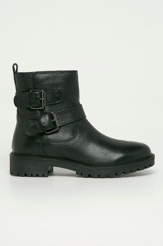 čierna Geox - Kožené členkové topánky Dámsky