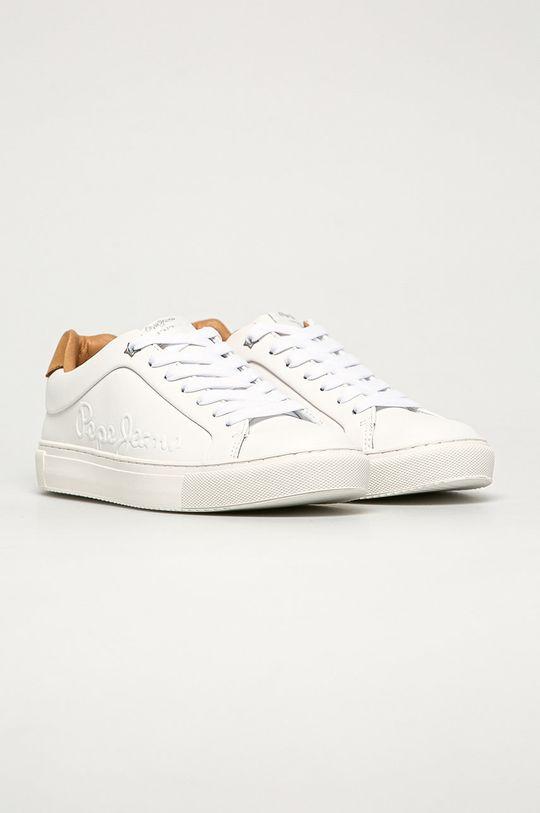 Pepe Jeans - Kožená obuv biela