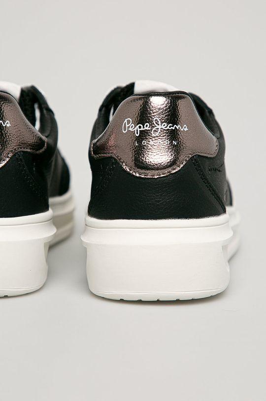 černá Pepe Jeans - Kožené boty Abbey Top