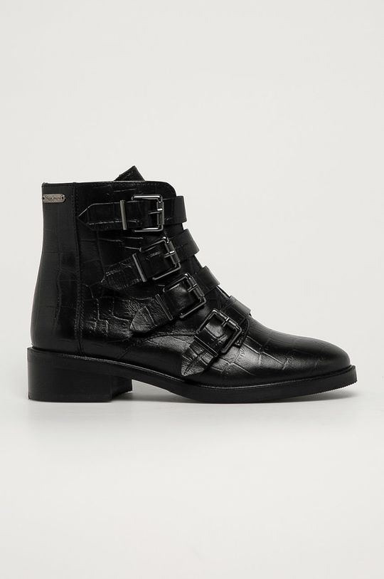 černá Pepe Jeans - Kožené kotníkové boty Maldon Iman Dámský