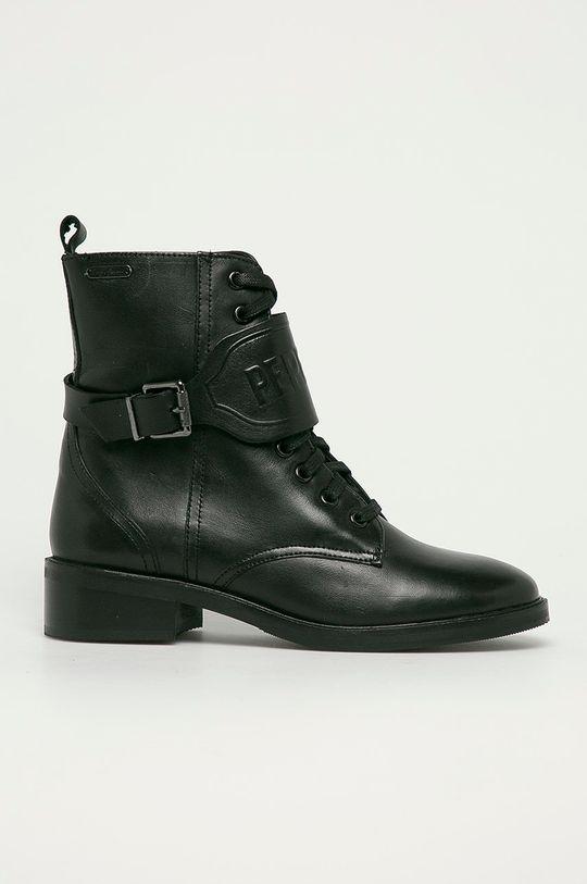 černá Pepe Jeans - Kožené farmářky Maldon Logo Dámský