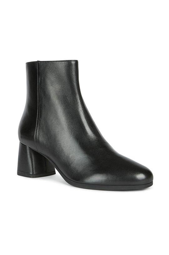 Geox - Kožené členkové topánky čierna