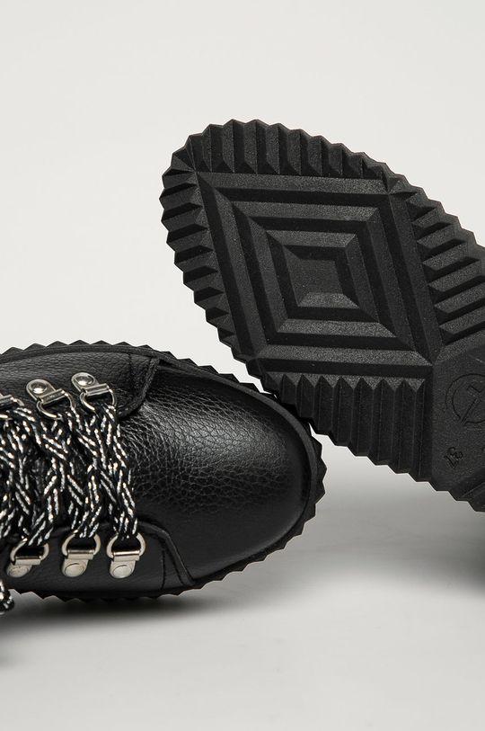 čierna Tamaris - Kožené členkové topánky