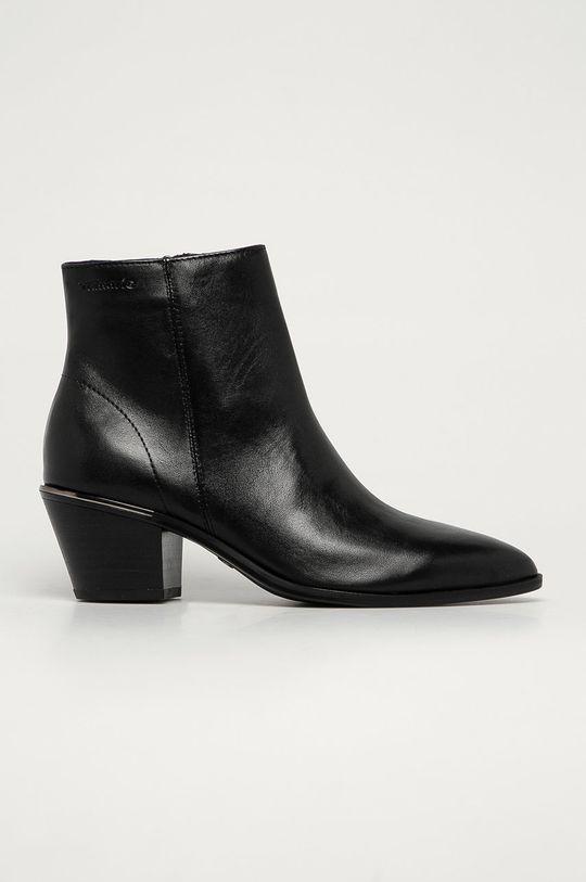 čierna Tamaris - Kožené členkové topánky Dámsky