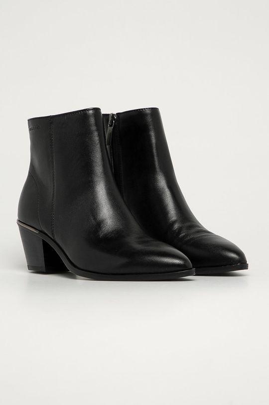 Tamaris - Kožené členkové topánky čierna