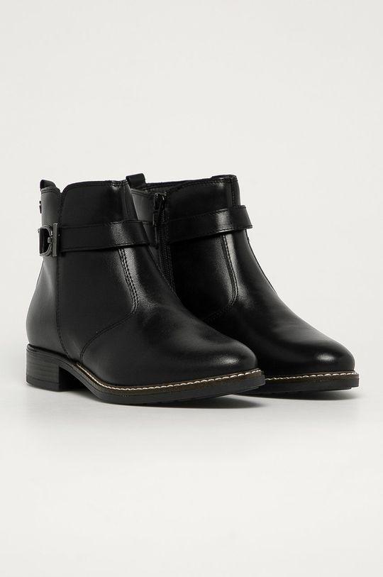 Tamaris - Kožené kotníkové boty černá