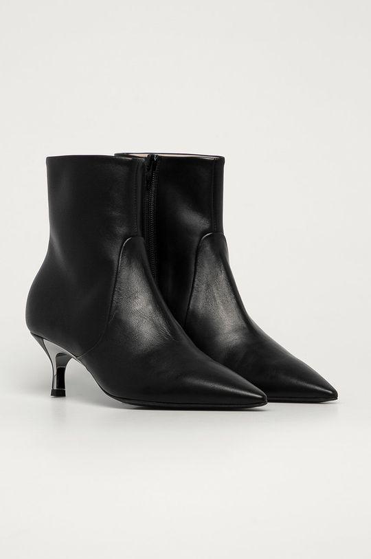 Furla - Kožené členkové topánky Code čierna