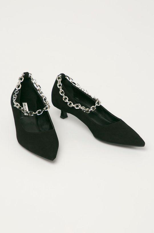Karl Lagerfeld - Magassarkú cipő velúrból fekete