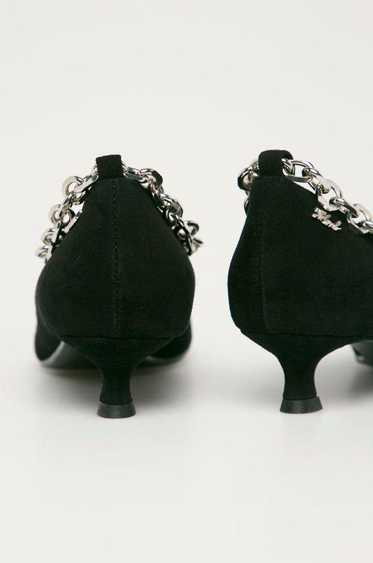 Karl Lagerfeld - Magassarkú cipő velúrból  Szár: természetes bőr Belseje: szintetikus anyag, természetes bőr Talp: szintetikus anyag