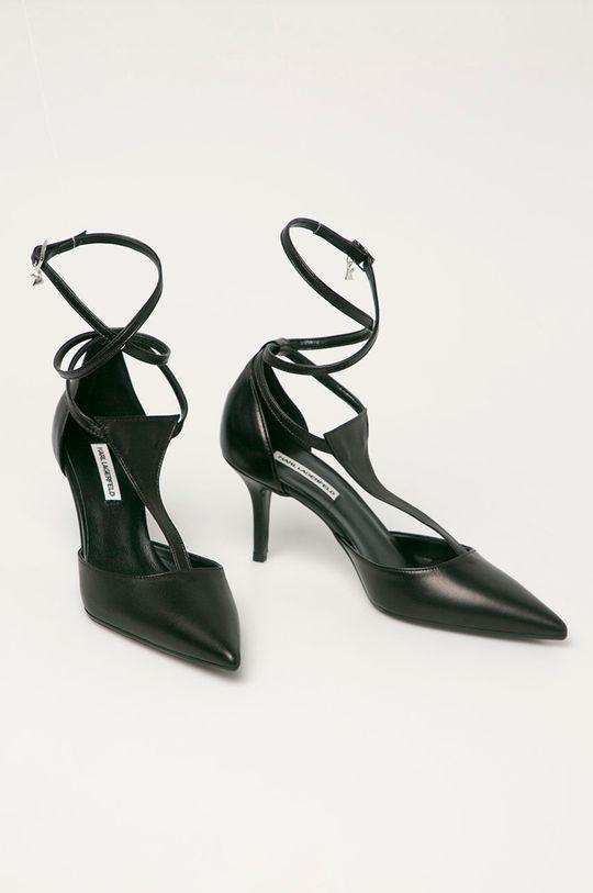 Karl Lagerfeld - Bőr tűsarkú cipő fekete