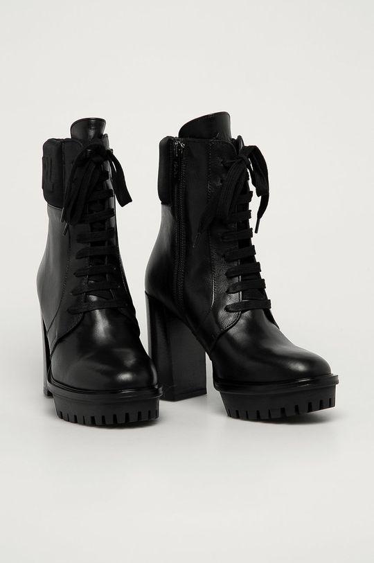 Karl Lagerfeld - Botki skórzane czarny