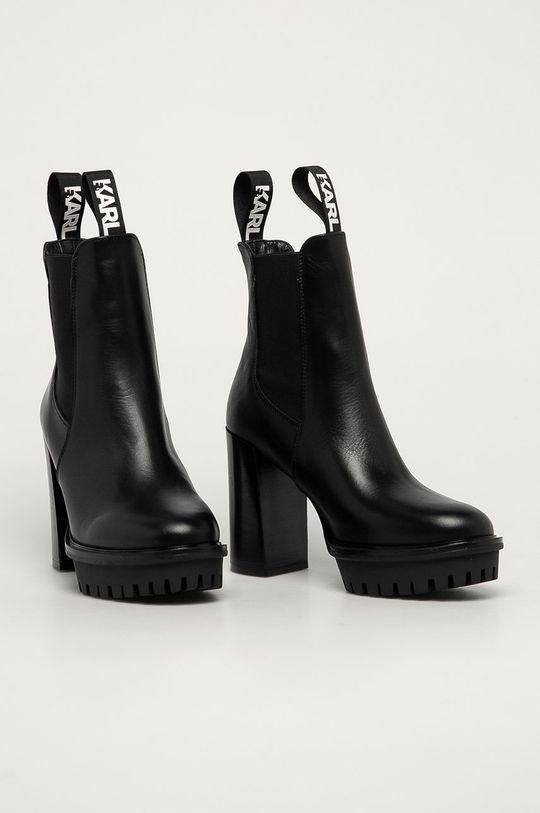 Karl Lagerfeld - Kožené topánky Chelsea čierna