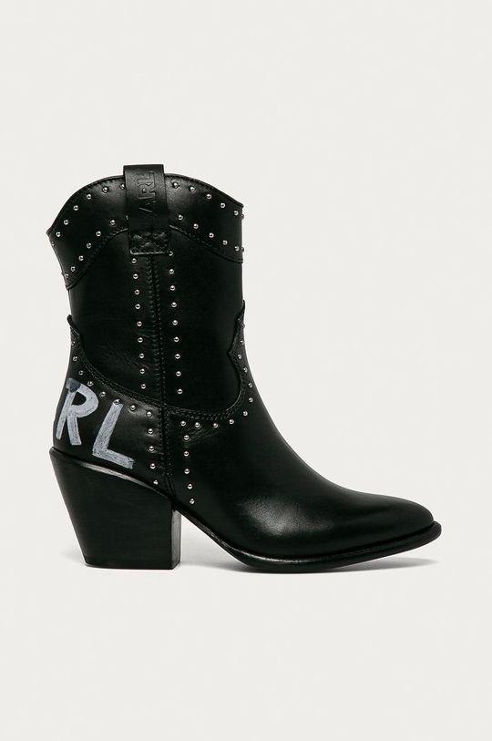 černá Karl Lagerfeld - Westernové kožené boty Dámský