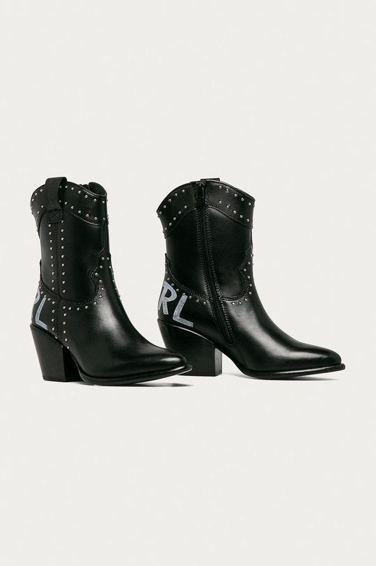Karl Lagerfeld - Westernové kožené boty černá