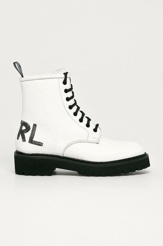 biały Karl Lagerfeld - Workery skórzane Damski