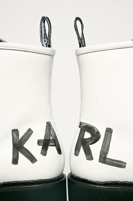 biały Karl Lagerfeld - Workery skórzane