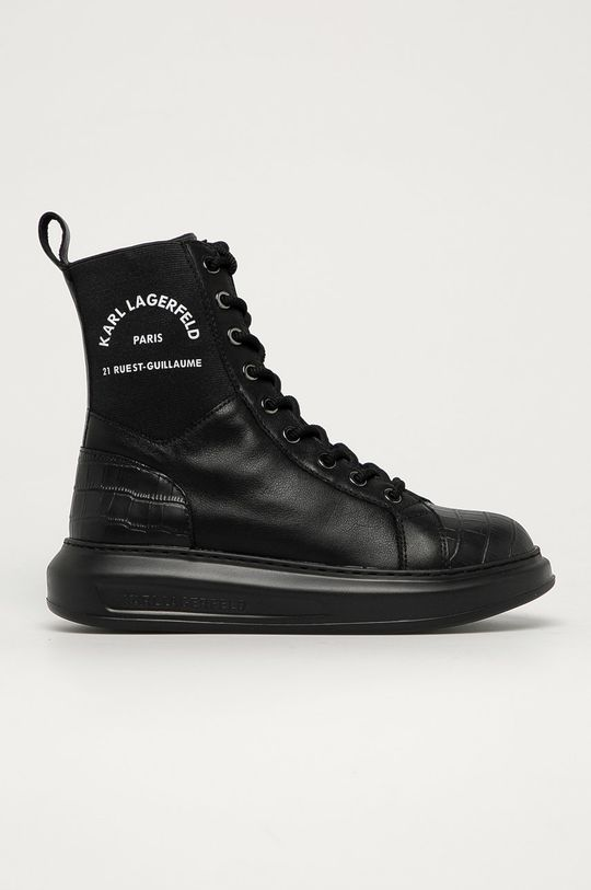 czarny Karl Lagerfeld - Botki skórzane Damski
