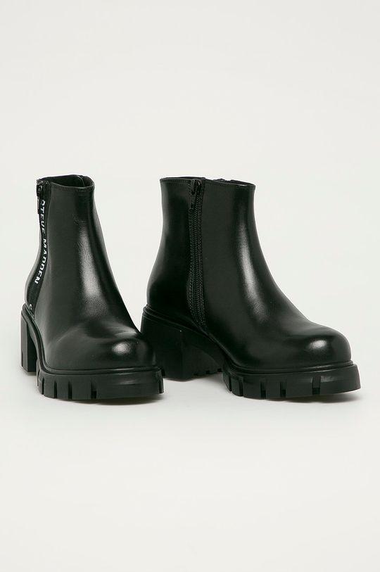 Steve Madden - Kožené členkové topánky Gros čierna